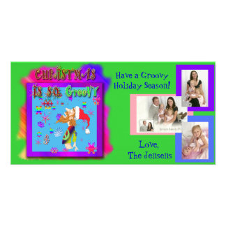 Photo post card customizable with groovy cartoon