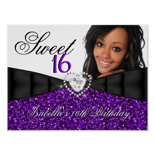 Photo Purple Glitter Sweet 16 16th Birthday Banner Poster