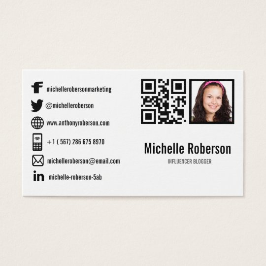 photo qr code and social media icons business