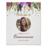 Photo Quinceanera Welcome Sign Amethyst