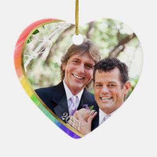 Photo + Rainbow LGBT Mr. & Mr. Watercolor Christmas Ornament