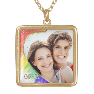 Photo + Rainbow LGBT Watercolor Heart Frame Gold Plated Necklace