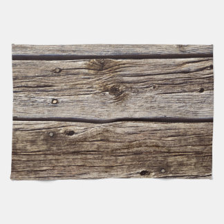 Photo Realistic Rustic, Weathered Wood Board Tea Towel