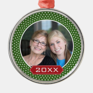 Photo Red Green Polka Dot Frame and Custom Year Silver-Colored Round Decoration