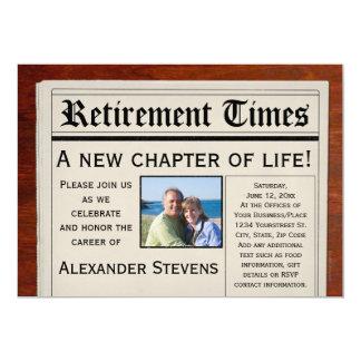 Photo Retirement Party Fun Newspaper Invitation