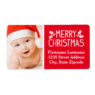 Photo Return Address Label   Merry Christmas