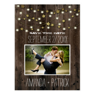 Photo Rustic Barn Wood Wedding Save The Date Cards Postcard