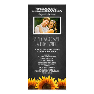 Photo Rustic Chalkboard Sunflower Wedding Programs Full Color Rack Card