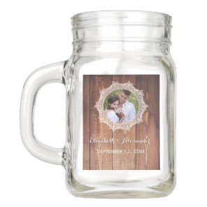 Photo Rustic Wood and Lace Mason Jar