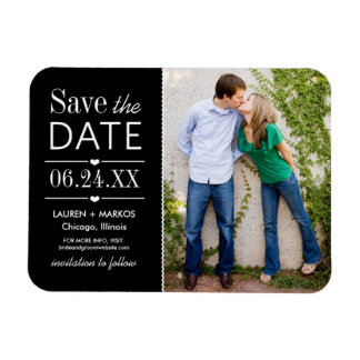 Photo Save the Date | Black White Rectangular Photo Magnet