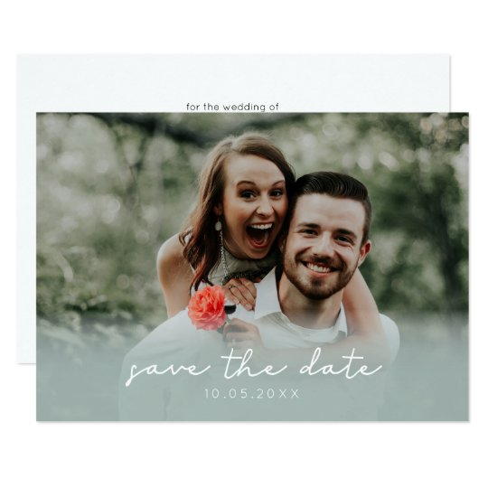 Photo Save the Date Card | Green Ombre