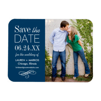 Photo Save the Date | Custom Color Rectangle Magnet