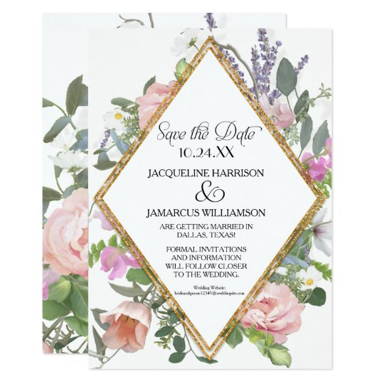 Photo Save the Date Gold Glitter Romantic Floral