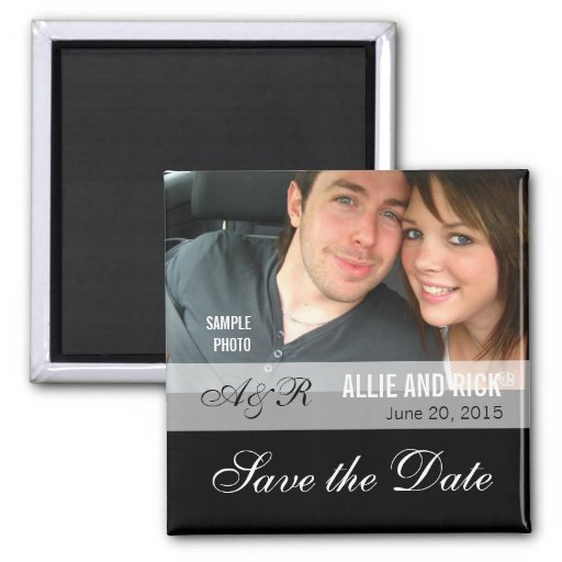 Photo Save the Date Magnets Black Fridge Magnets