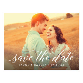 Photo Save the Date | Modern Calligraphy Postcard