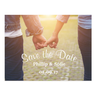 Photo Save the Date Rustic Postcard -Holding Hands