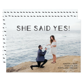 Photo Save the Date - She said Yes! Card