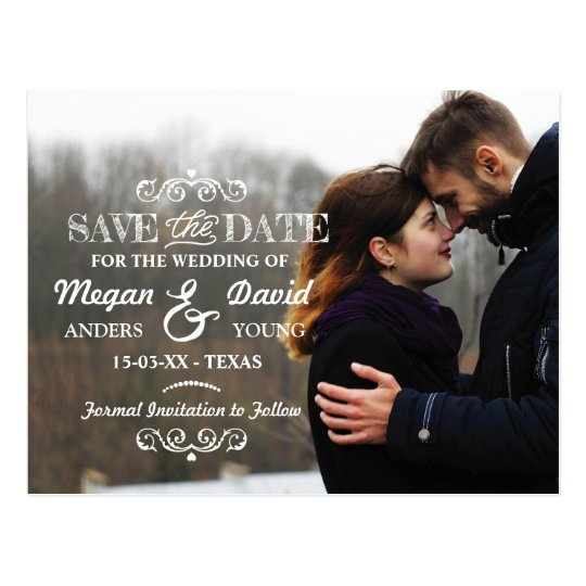 Photo Save The Date Wedding Cards Rustic Postcard