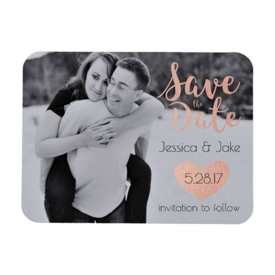 Photo Save the Date with Rose Gold Rectangular
