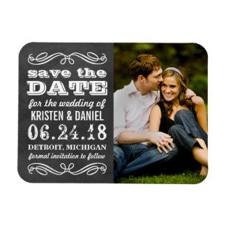 Photo Save the Dates | Vintage Black Chalkboard Rectangular Photo Magnet