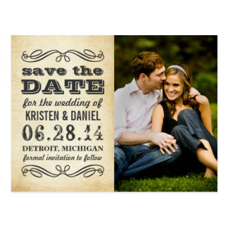 Photo Save the Dates | Vintage Poster Style Postcard