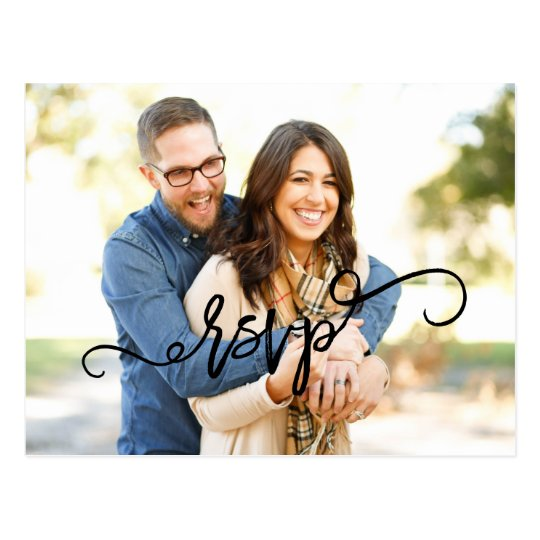 Photo Script Wedding RSVP Postcard