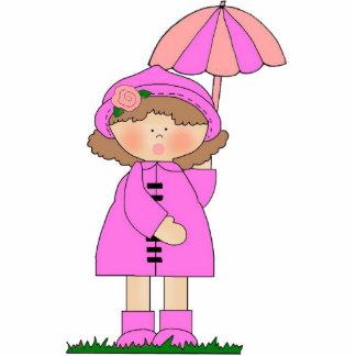 Photo Sculpture Girl Raincoat Umbrella Cut Out