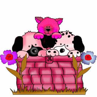 Photo Sculpture Kid's Puppies Cat In Basket Pink