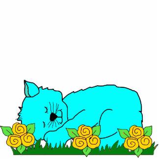 Photo Sculpture Kid's Sleeping Kitten Blue Yellow