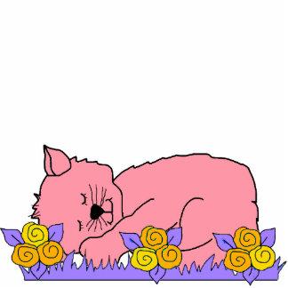 Photo Sculpture Kid's Sleeping Kitten Pink Mauve
