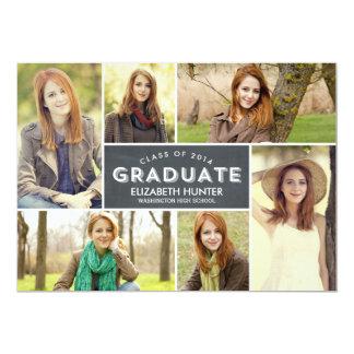 Photo Showcase Graduation Invitation - Chalkboard Custom Invitations