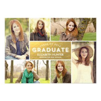Photo Showcase Graduation Invitation - Gold Personalized Announcements