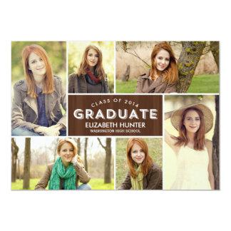 Photo Showcase Graduation Invitation - Wood Custom Invitation
