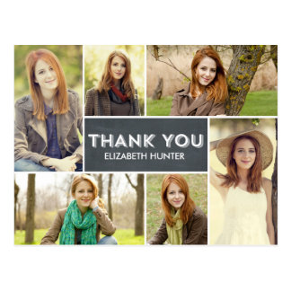 Photo Showcase Graduation Thank You Card - Chalk Postcard