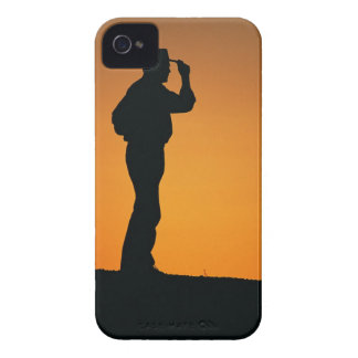 Photo, silhouette of a cowboy with his hand on iPhone 4 case