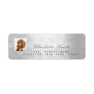 Photo Silver Gray RSVP Adress Name Metallic Minima Return Address Label