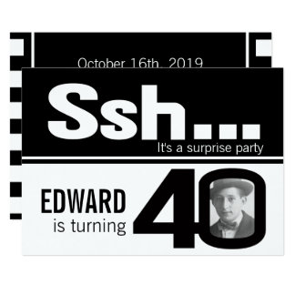 Photo ssh men black white 40th birthday invite
