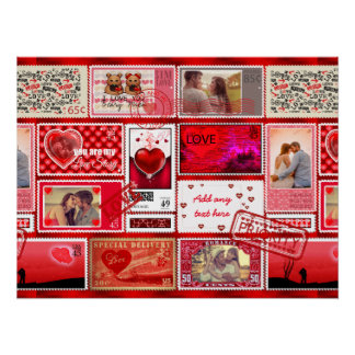 Photo Stamp Love Collage Red PSCX