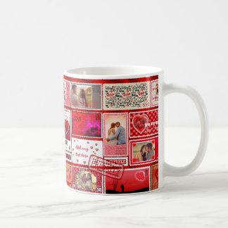 Photo Stamp Love Collage Red PSCX Basic White Mug