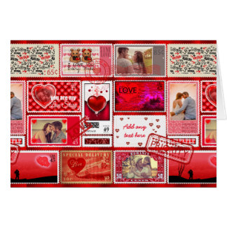 Photo Stamp Love Collage Red PSCX Greeting Card