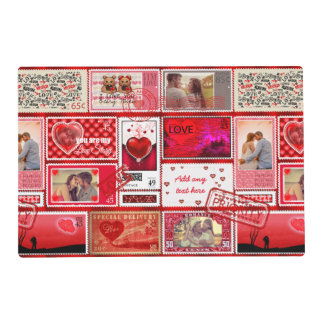 Photo Stamp Love Collage Red PSCX Laminated Place Mat