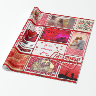 Photo Stamp Love Collage Red PSCX Wrapping Paper