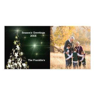 Photo & Stars on Christmas Tree in Night Sky Card Photo Cards