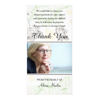 Photo Sympathy Memorial Thank You Autumn Leaves Card