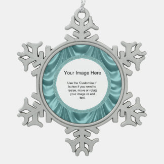 Photo Template - Aqua Ruched Satin Fabric Snowflake Pewter Christmas Ornament