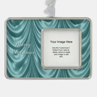 Photo Template - Aqua Ruched Satin Fabric Scallops Silver Plated Framed Ornament