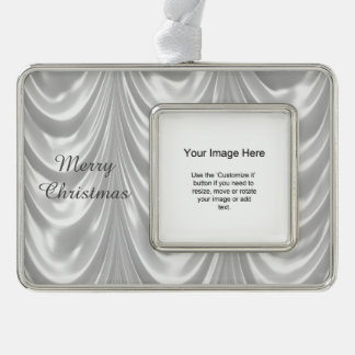 Photo Template - Bridal White Ruched Satin Fabric Silver Plated Framed Ornament
