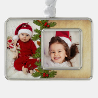 Photo Template Christmas Xmas Traditional Silver Plated Framed Ornament