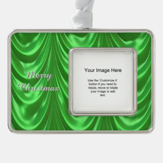 Photo Template - Green Ruched Satin Fabric Silver Plated Framed Ornament