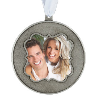 Photo Template Keepsake Christmas Ornament Pewter Scalloped Pewter Decoration